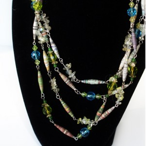 PaperBeadNecklace10 300x300 Rolled Paper Bead Necklace