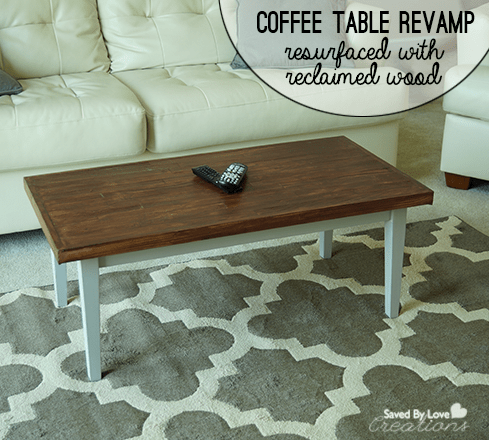 reclaimed wood and resurface a coffee table