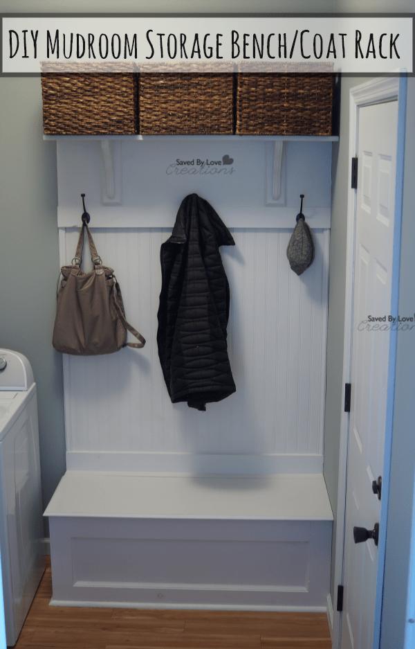 diy mudroom storage bench and coat rack