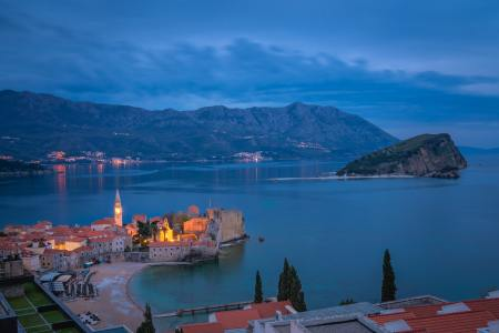 Dusk over Budva town and bay