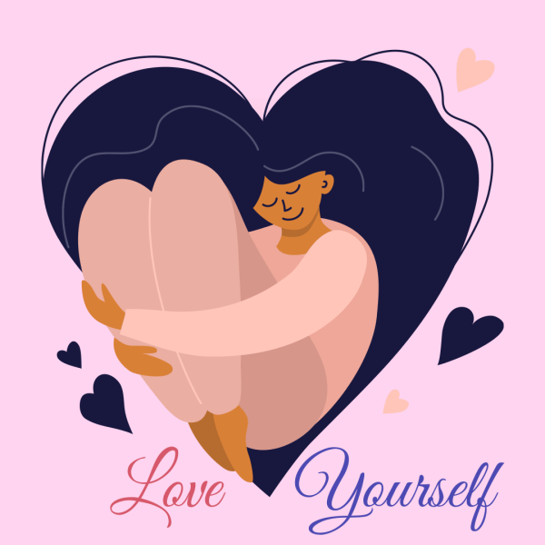 Love Yourself, Girl Feeling loved Forming A Heart Shape