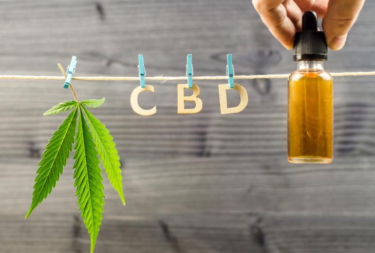 Cannabis Cbd oil and hemp leaf