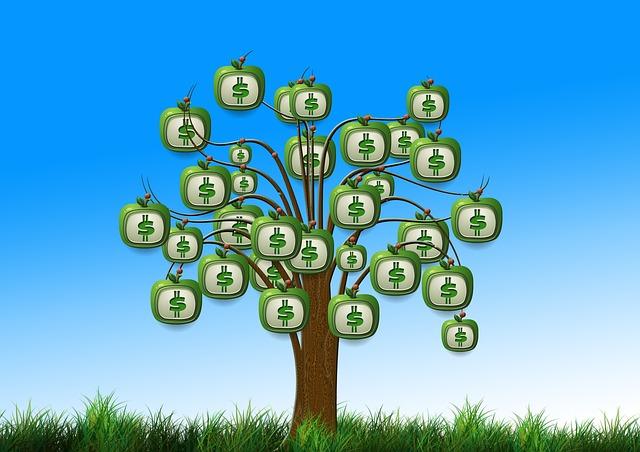 money tree with money symbols instead of leaves