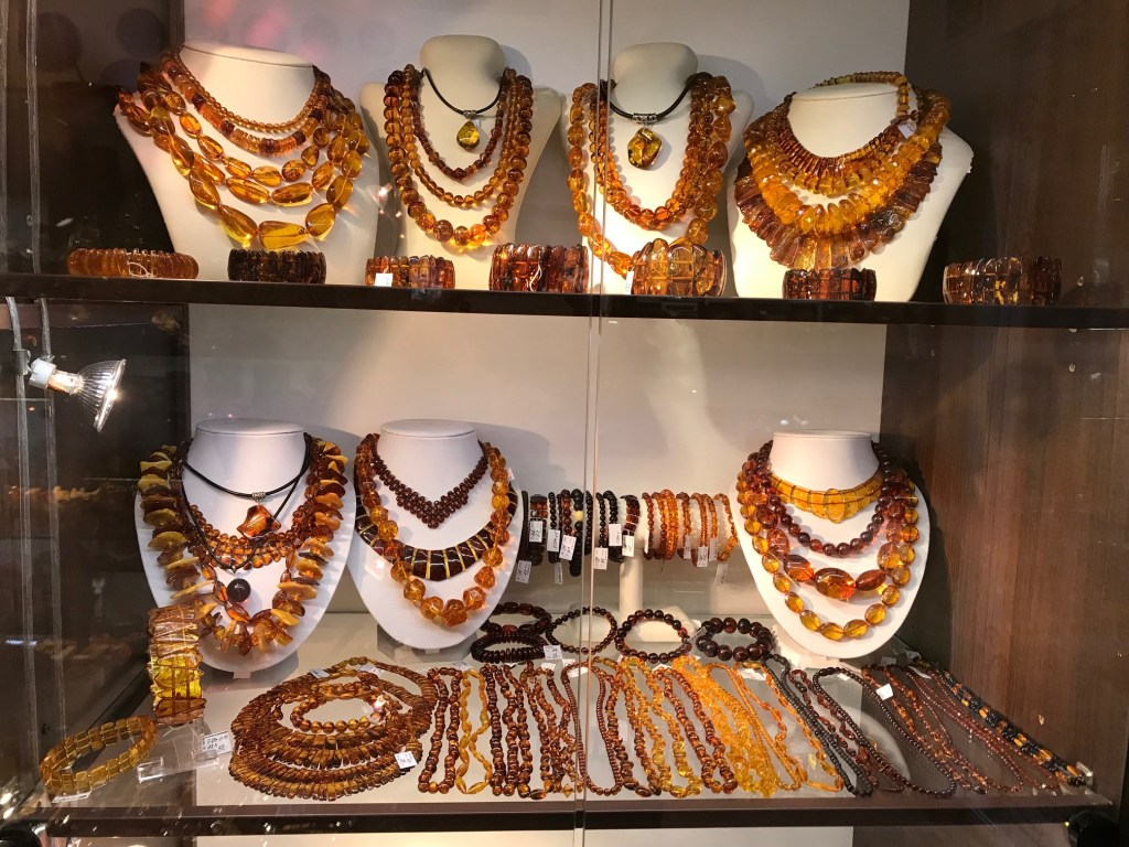 window display with amber necklaces in the Old Town of Vilnius