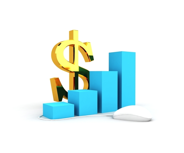 a graphic image of a dollar sign and several cubes showing growth