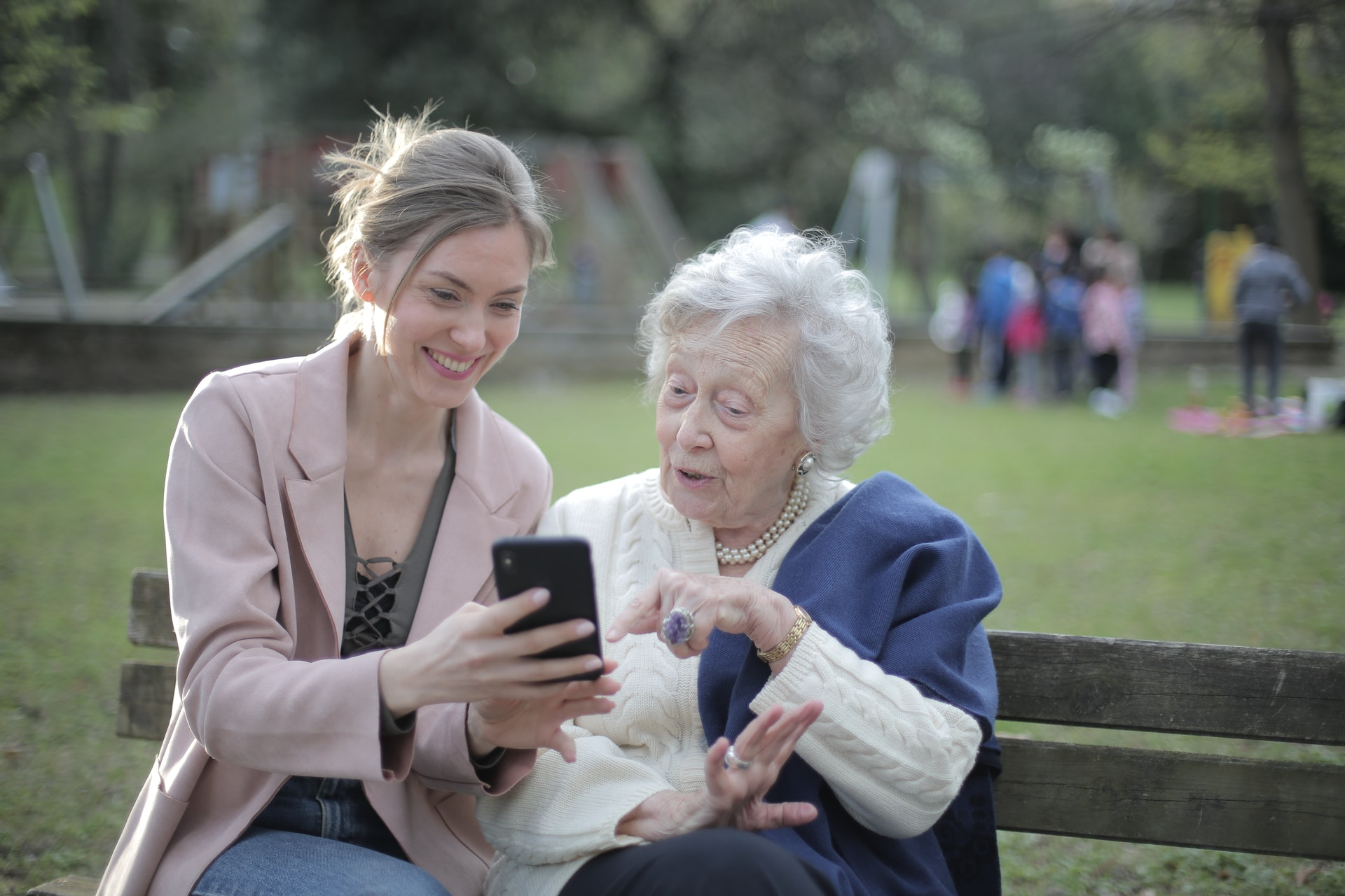 young and old women in a park-healthcare in retirement