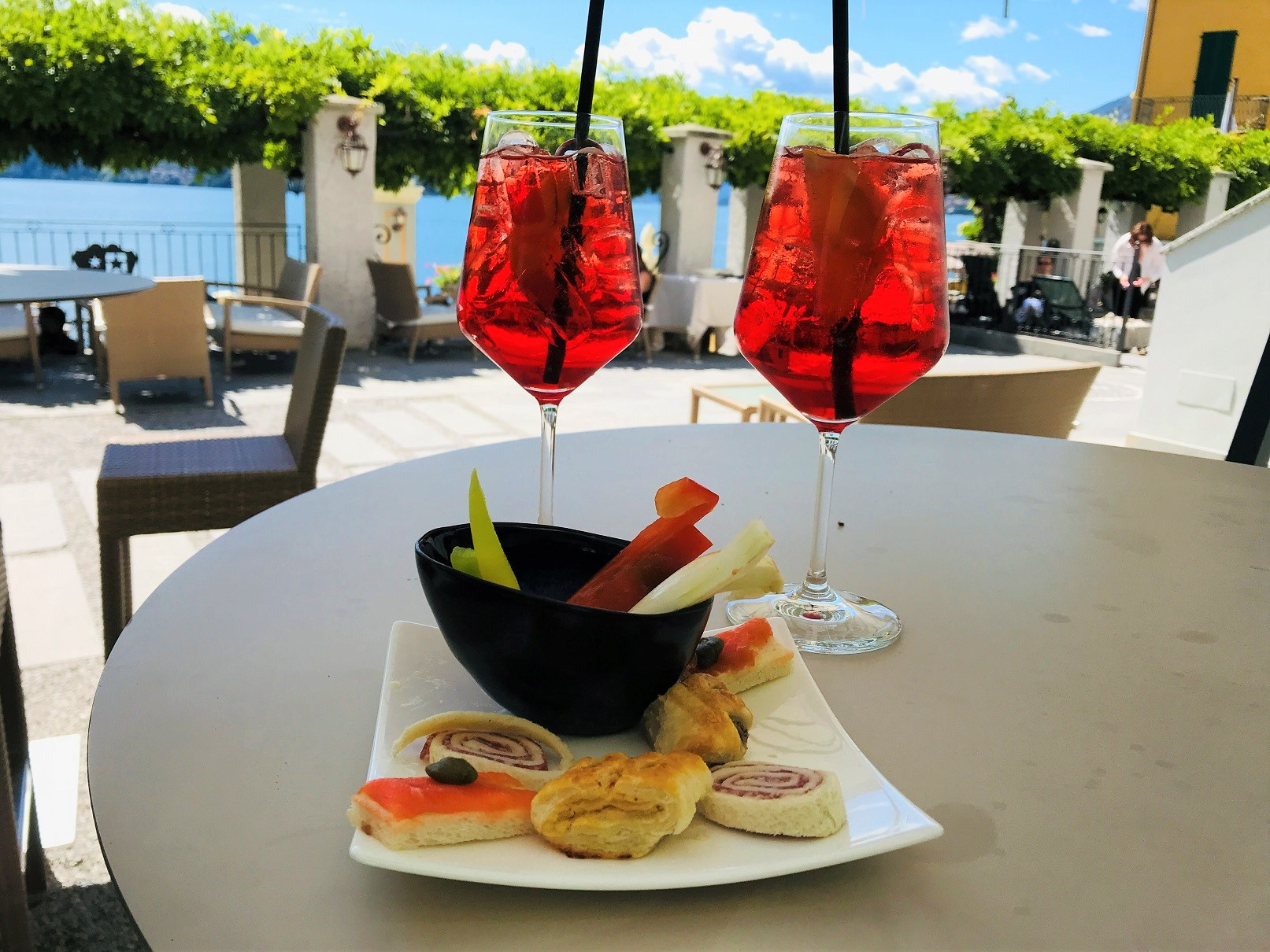 aperitivo in small town of Varenna