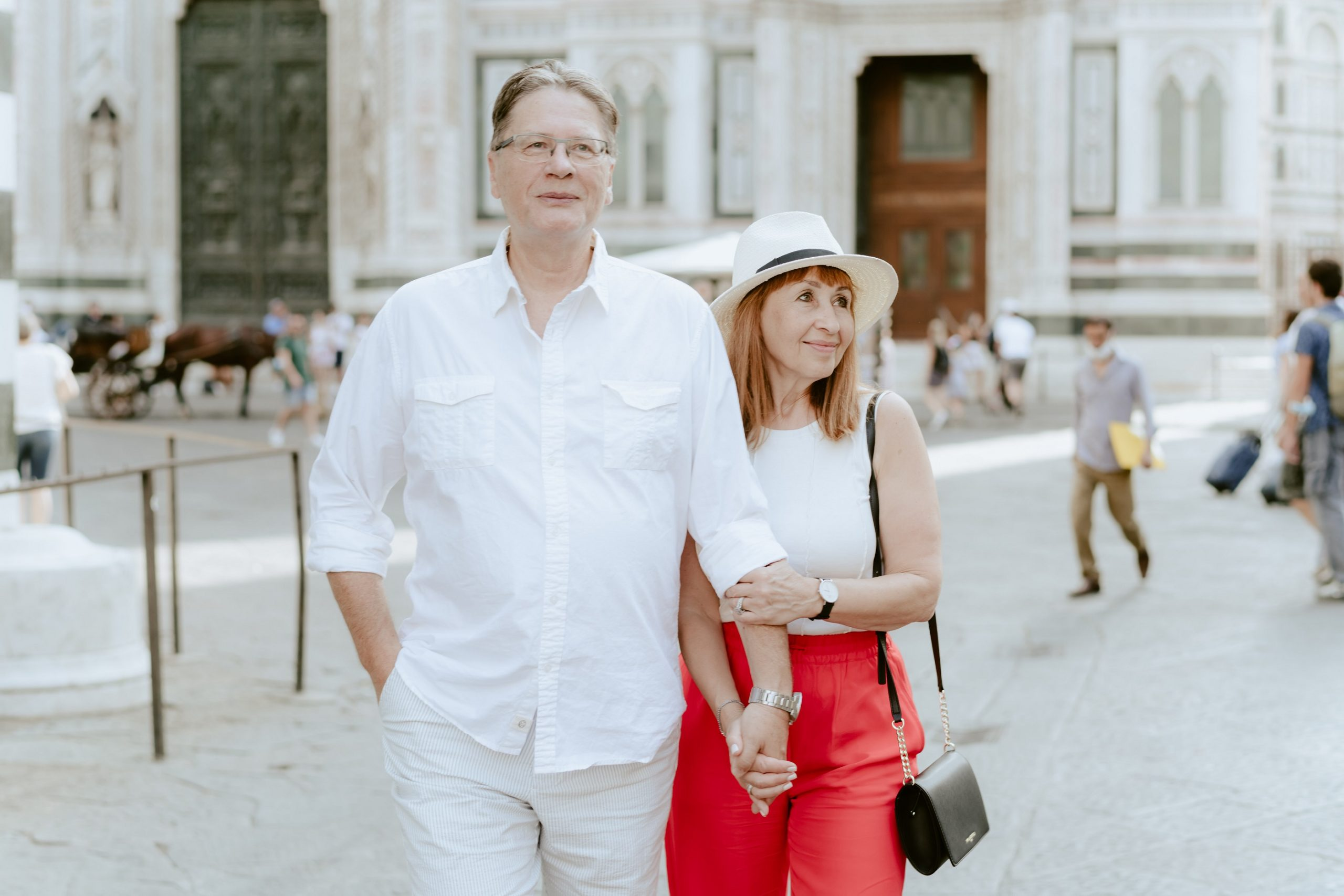 Maggie and Roman on the streets of Florence