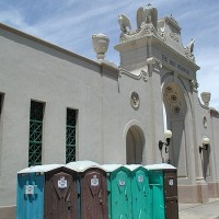 The Memorial is now home to portable toilets.