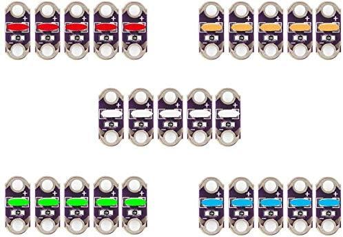 25PCS Lilypad LED rosso, arancione, giallo, verde, blu x5 per Arduino IDE...