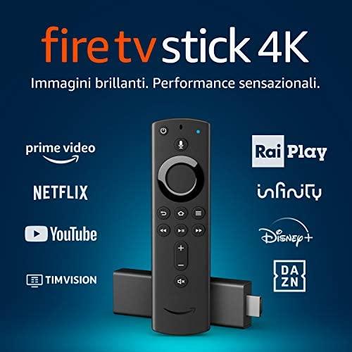 Fire TV Stick 4K Ultra HD con telecomando vocale Alexa di ultima...