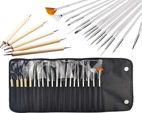 JZK Set 20 pennelli unghie gel professionali e kit dotter per unghie con...