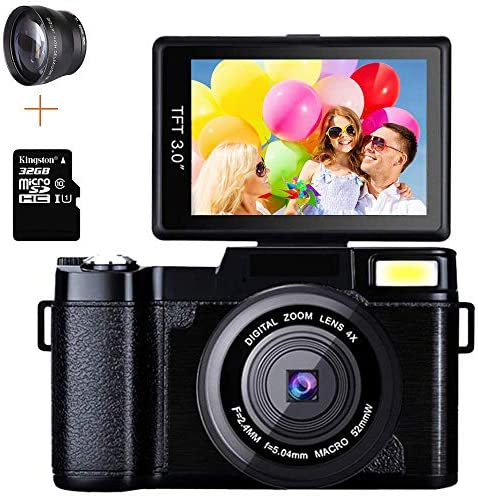 Macchina Fotografica 24MP Digitale Videocamera Full HD 1080P 2.7K 3.0...