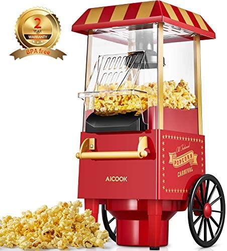 Macchina per Pop Corn, Aicook 1200W Retro Macchina Popcorn Compatta ad aria...