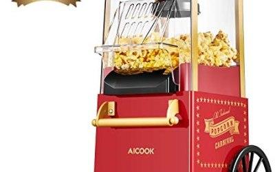 Macchina per Pop Corn, Aicook 1200W Retro Macchina Popcorn Compatta ad aria…
