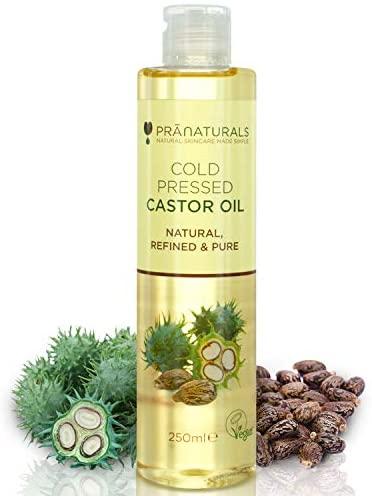 PraNaturals Olio di ricino pressato a freddo 250ml - Naturale, puro, vegano...
