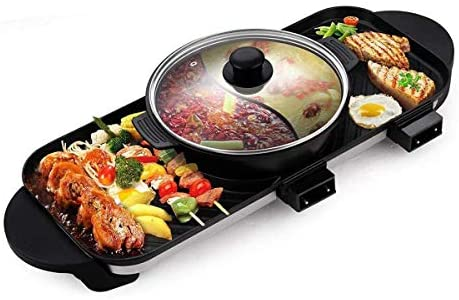 WJJJ Electric BBQ Grill Hot Pot Grill Multifunction with Ceramic Coating...