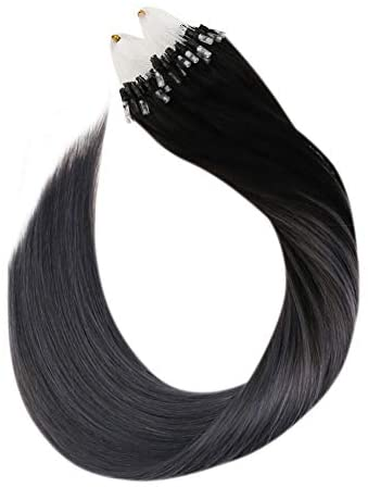 Ugeat 50 Strands Easy Loop Micro Ring Hair Extensions 14 Pollici Brasiliano...