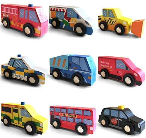 Auto Giocattolo Veicoli di Città in legno set 9 pezzi compreso Camion dei...
