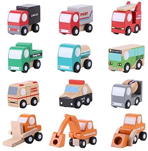 Fdit Veicoli di Città in Legno Set di Giocattoli in Legno Set Toy Car Truck...