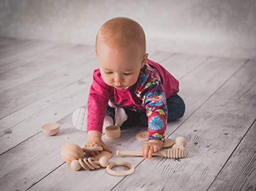 Cesto dei tesori, Il cestino dei tesori Montessori 14 oggetti in legno per...