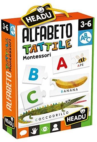 Headu- Montessori Alfabeto Tattile, Multicolore, IT20164