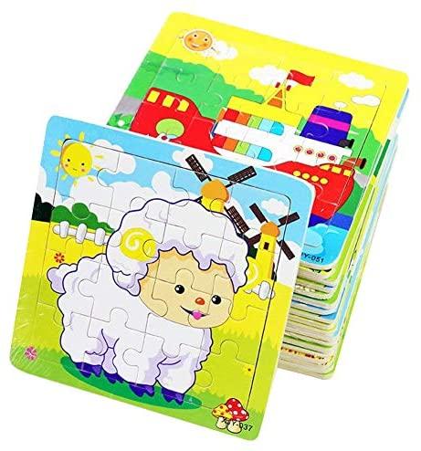 PROW® Giocattoli in Legno 16 Pezzi Bambino Giocattolo Puzzle Elefante Panda...