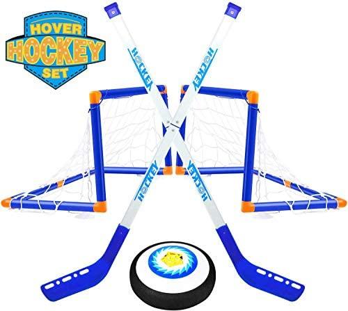 TwobeFit Hover Set da Hockey, 2 Goal Giocattoli per Bambini - Pallone da...