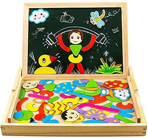 Magnetico Lavagna Puzzle di Legno Giochi Montessori Magnetica Lavagnetta a...