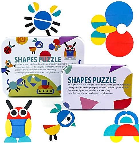 PL Giochi Legno Set Montessori Tangram Puzzle 2 in 1 Animali Puzzle Blocchi...
