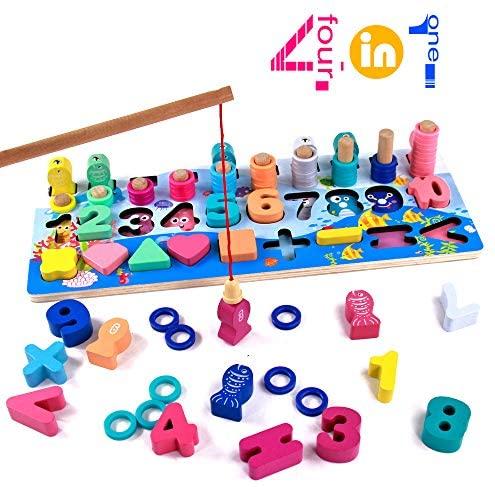 Giochi Montessori in Legno Educativi Puzzle per Bambini Gioco Pesca...