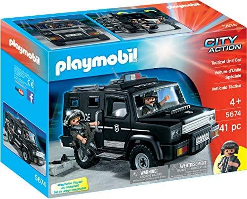 Playmobil- City Action Giocattolo Mezzo dell'unità Speciale, Colore Nero,...