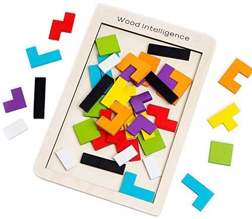 SeeKool Tetris Giochi Legno Puzzle, 40 Pz Tangram Jigsaw Colorato...