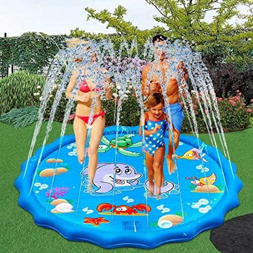 Tappetino Gioco d'Acqua per Bambini, 170 cm Splash Pad Gonfiabile,...