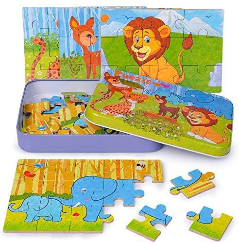 rolimate Puzzle di Legno 4 in 1 Jigsaw Puzzle per Bambini, Giocattolo...