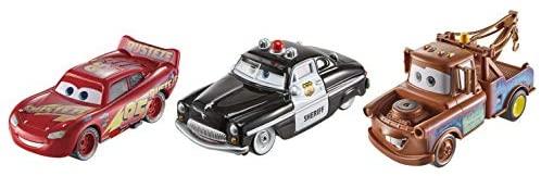 Disney Cars- Veicoli Radiator Springs Saetta McQueen, Sceriffo e Cricchetto...