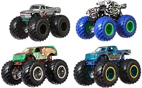 Hot Wheels, Monster Truck Confezione da 4 Veicoli Assortiti con Ruote...