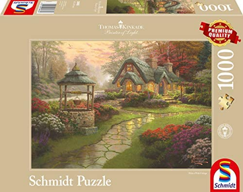 Schmidt - Thomas Kinkade Puzzle, Tematica: Cottage con Fonte, 1000 Pezzi