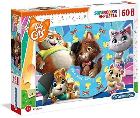 Clementoni- Supercolor Puzzle-44 Gatti-60 Maxi Pezzi, Multicolore, 26441