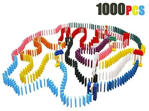 Lewo 1000 Pezzi mattoncini in Legno per Domino per Bambini con Borsa