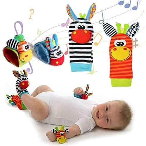 Neonato Sonagli Baby Rattle Toys, 4 Pz Velluto Calzini Polso Sonagli...
