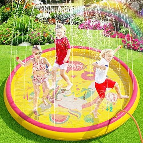 Peradix Tappetino Gioco d'Acqua per Bambini, 170cm Spruzzi e Splash Tappeto...