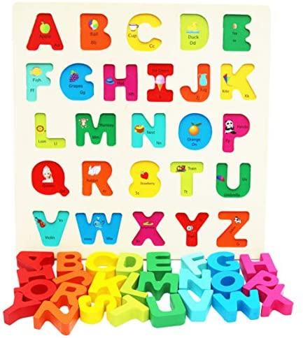 TOWO Puzzle con Lettere dell'Alfabeto in Legno per Bebè - Puzzle con Pezzi...