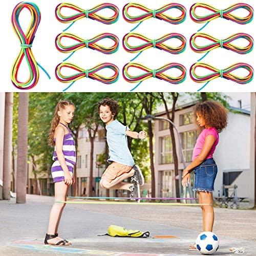 10 Pezzi Corda Saltare Cinese Corda Elastica Colorata Corda Saltare Fitness...