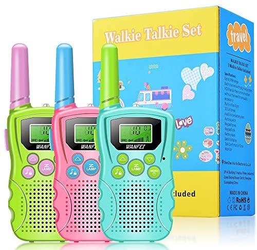 WANFEI Walkie Talkie Bambini 3 Pezzi,Radio a 8 Canali con Torcia LCD...