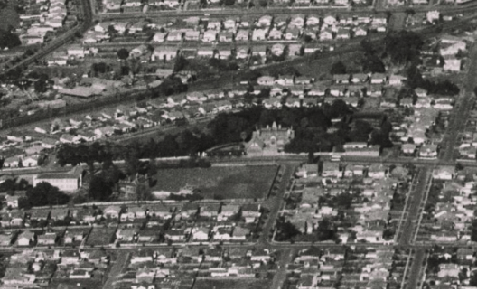 Aerial view of North Park Estate, 950s