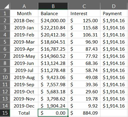 Excel Loan Payment