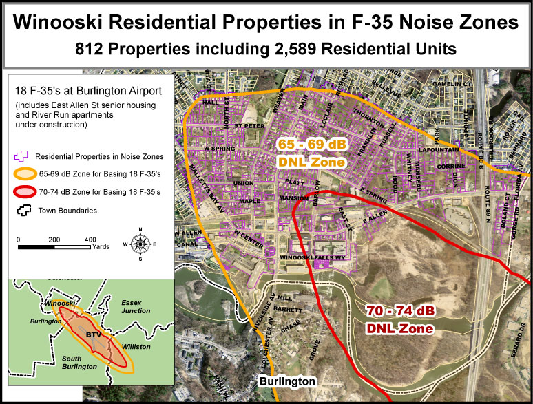 Winooski Residential Properties F35 Noise Zones Save Our Skies
