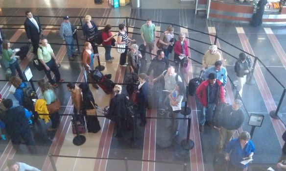 The view from the US Airways lounge down on the security line. We got to go in the empty line to the right.