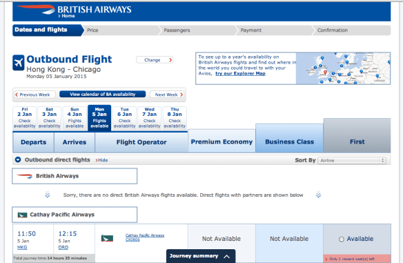 britishairways.com is one of the most reliable ways to search for Cathay Pacific award space, but there's not much to be found around the New Year
